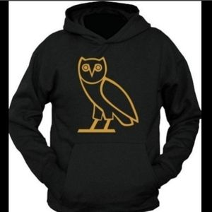 Black Owl Sweatshirt with hoodie and front pouch